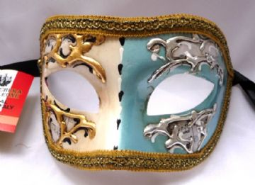 Genuine Venetian Turquoise & Cream  half Mask (1)
